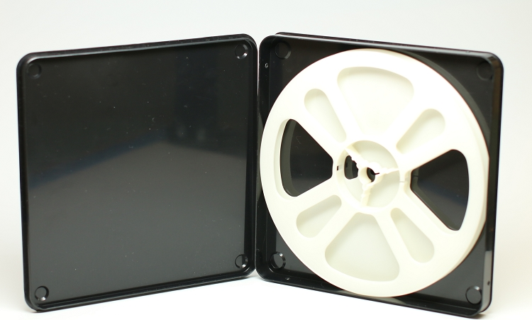 Super 8 400 Ft. Movie Film Reel & Vented Can Set (Black Can White Reel)